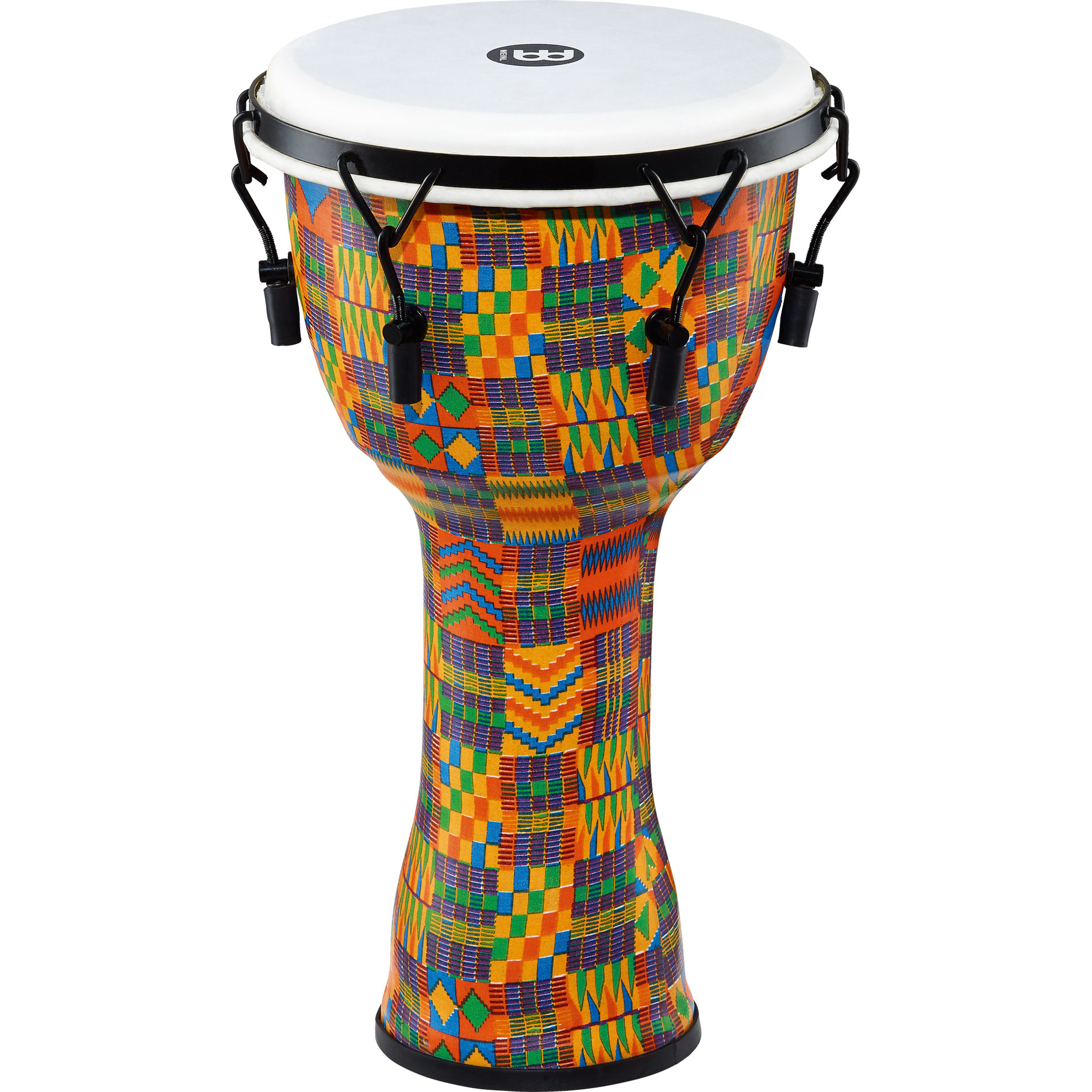 "Meinl 10"" Mechanically-Tuned Travel Djembe in Kenyan Quilt with Synthetic Head"