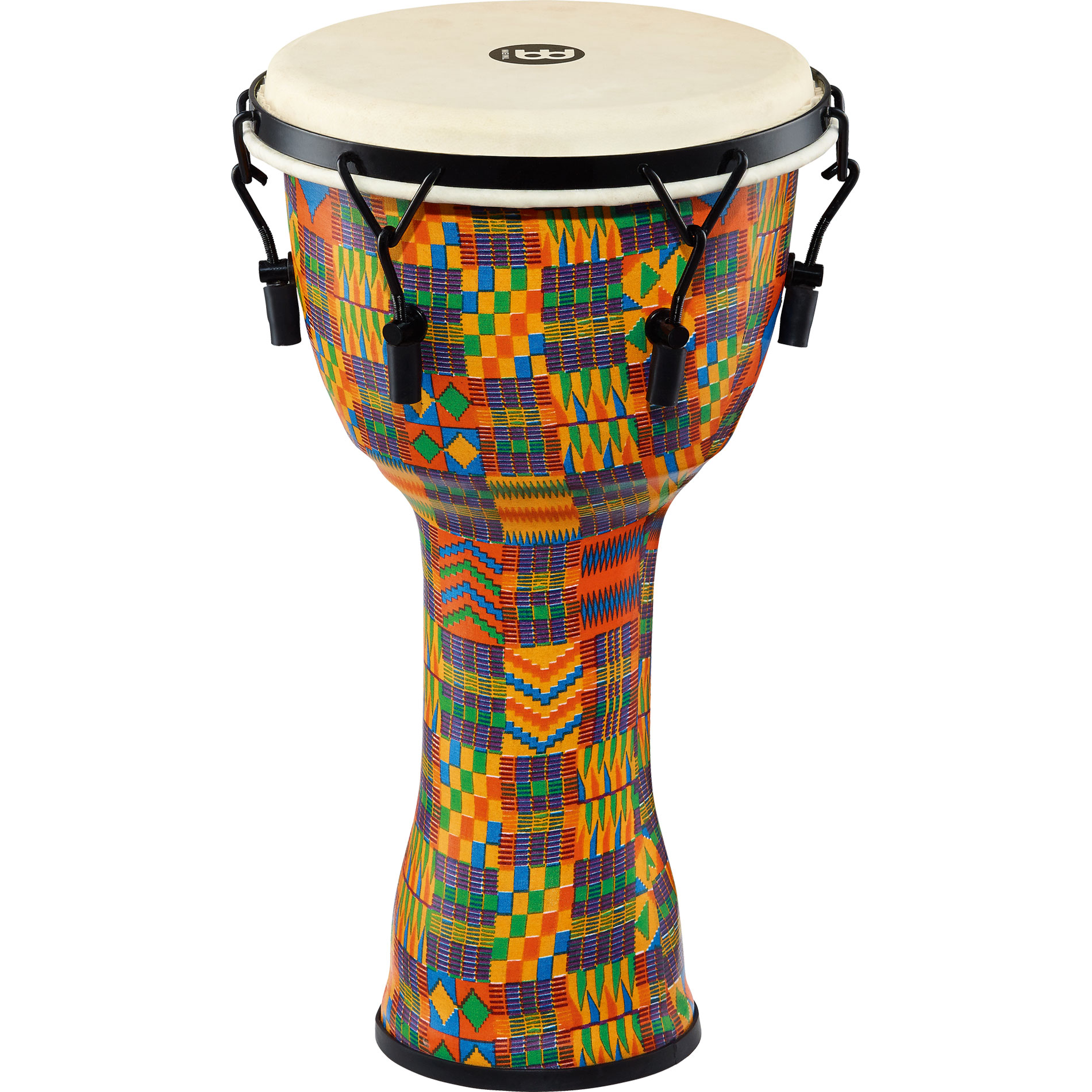 "Meinl 10"" Mechanically-Tuned Travel Djembe in Kenyan Quilt with Natural Head"