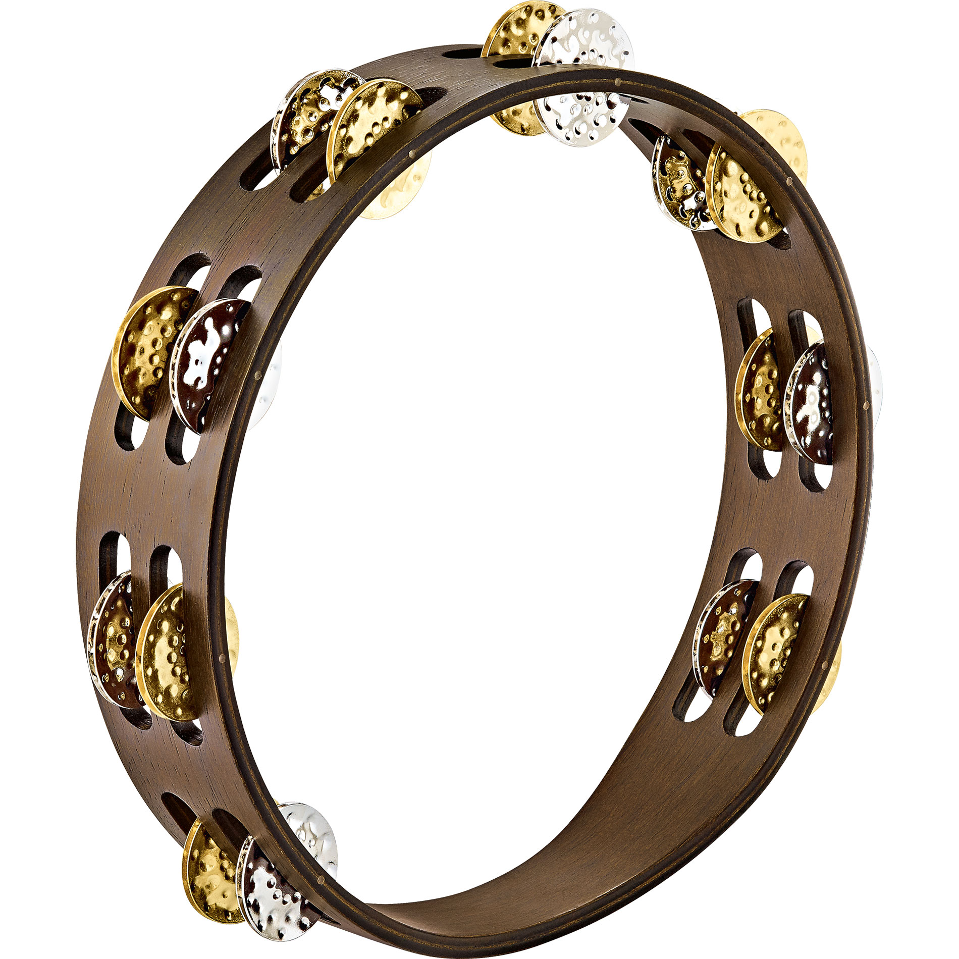 Meinl Double Row Wood Tambourine with Hammered Brass/Steel Jingles in Walnut Brown