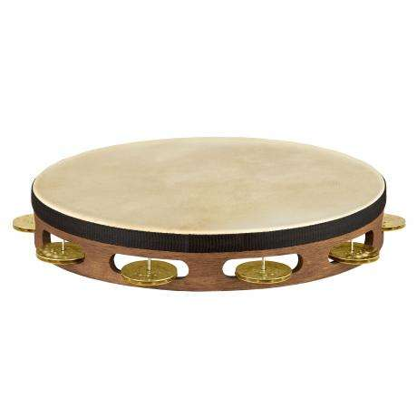 Meinl Vintage Wood Single-Row Hammered Brass Tambourine (Natural Head)