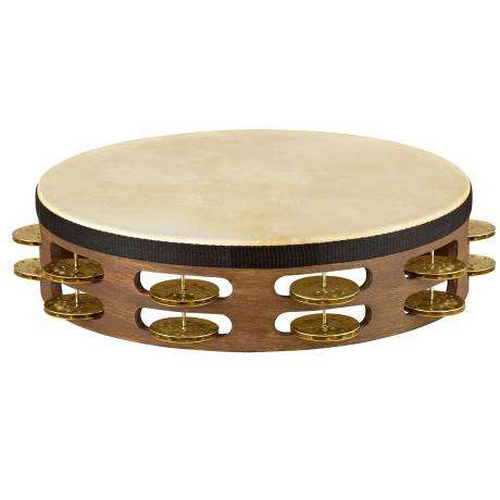 Meinl Vintage Wood Double Row Hammered Brass Tambourine (Natural Head)