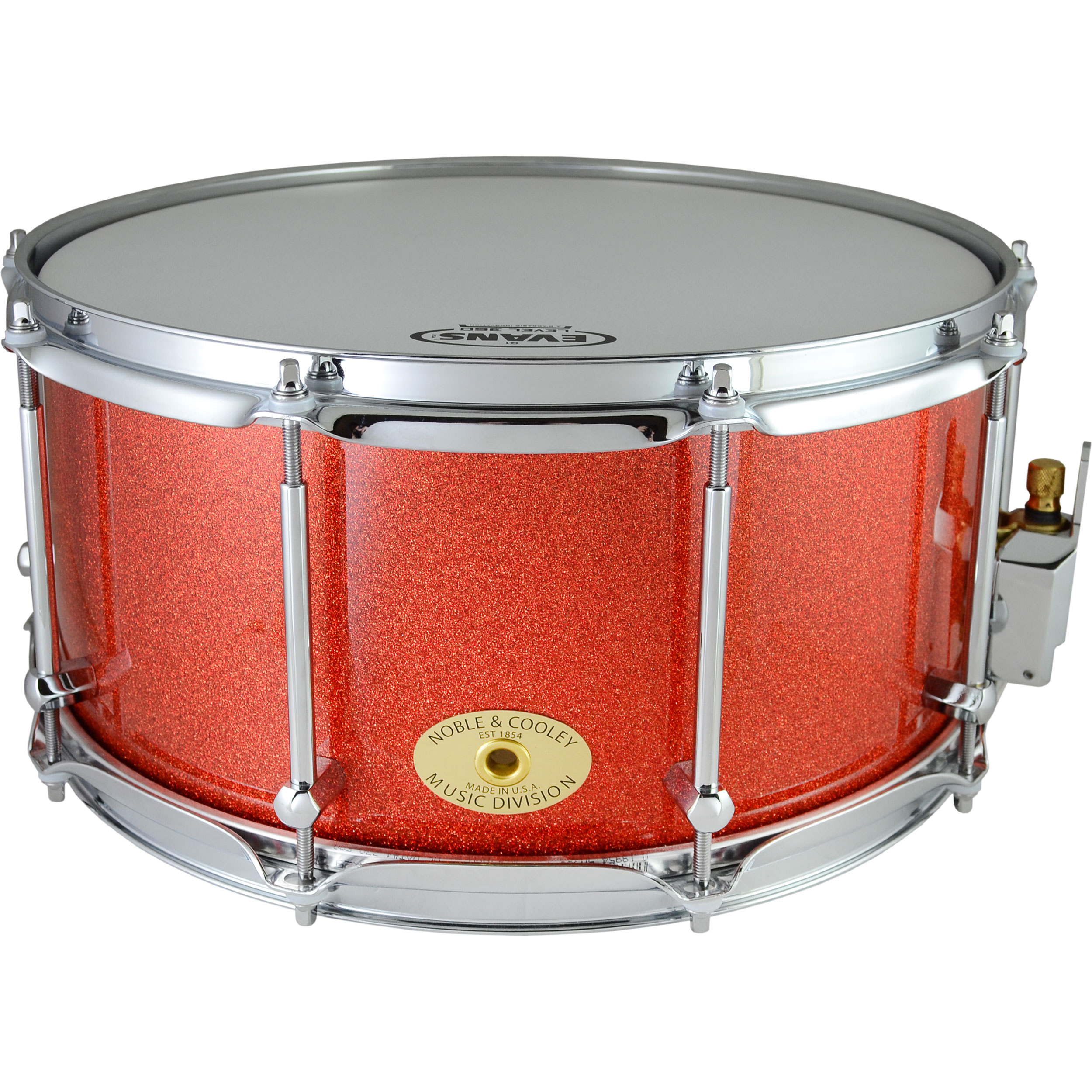 "Noble & Cooley 7"" x 14"" Classic Solid Shell Maple Snare Drum in Tangerine Sparkle"