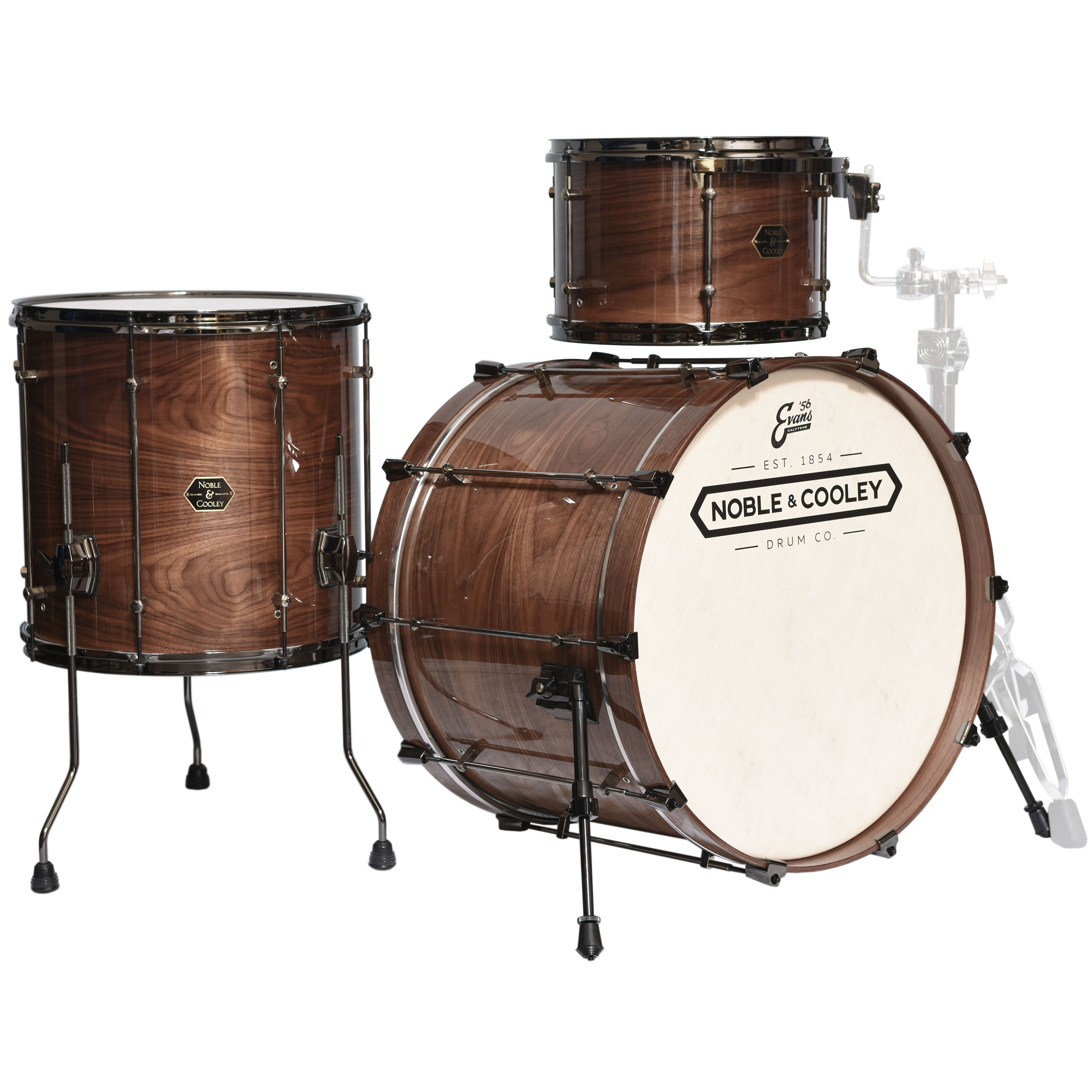 "Noble & Cooley Horizontal Ply Natural Walnut 3-Piece Drum Set (22"" Bass Drum, 13/16"" Toms)"