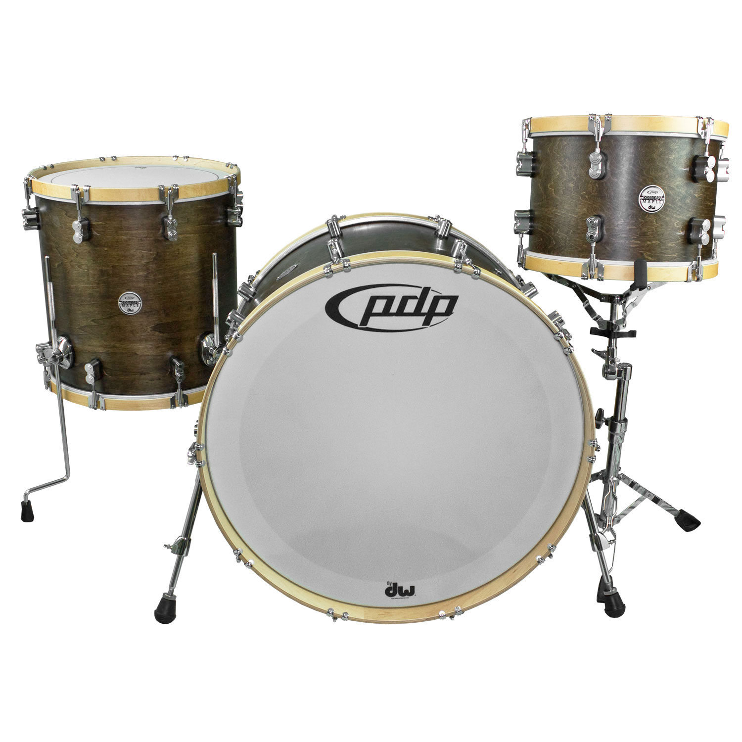 """PDP 3-Piece Concept Maple Classic Drum Set Shell Pack (26"""" Bass, 13/16"""" Toms) in Tobacco with Natural Hoops (PASIC 2017 Demo)"""