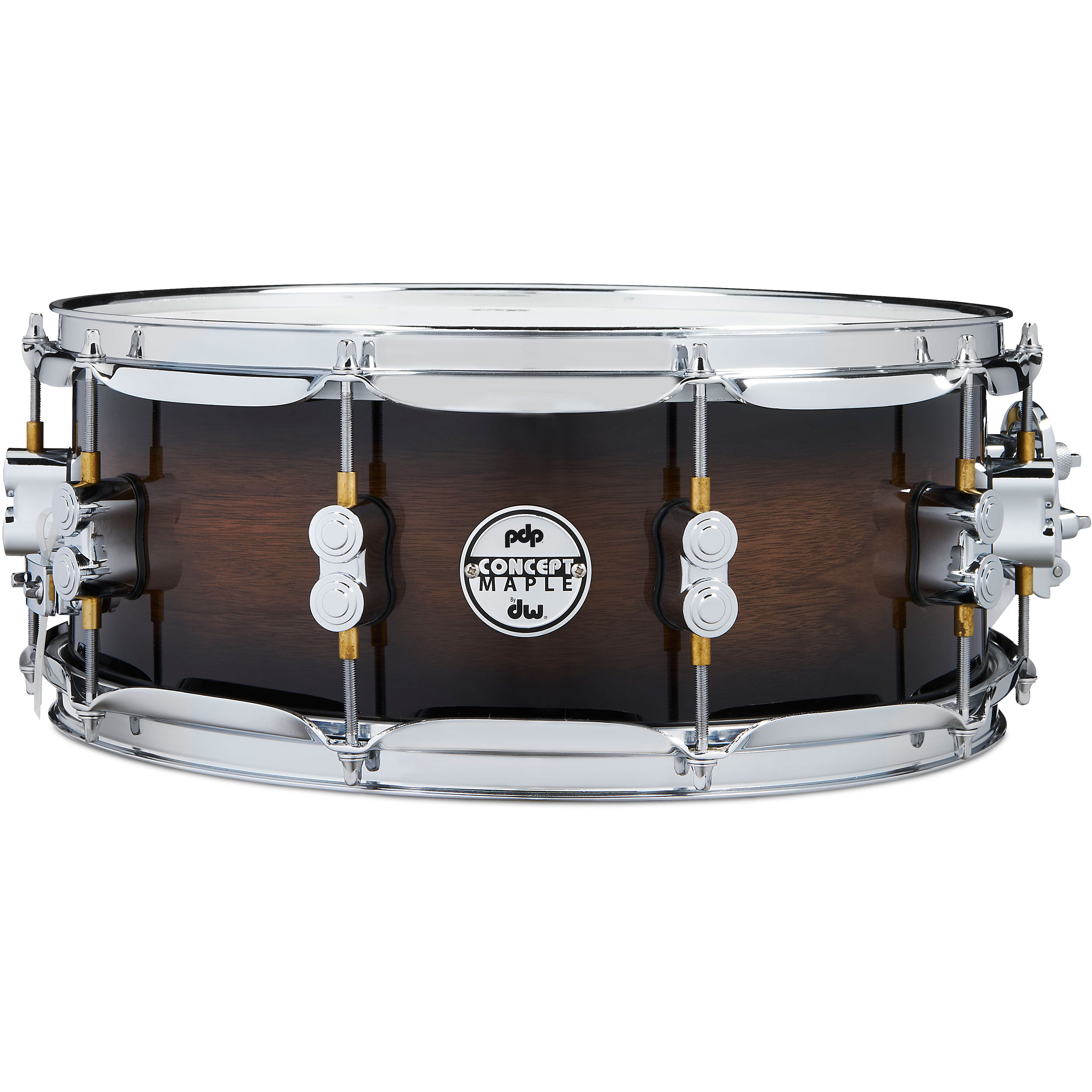 "PDP 5.5"" x 14"" Concept Exotic Snare Drum in Walnut to Charcoal Burst"