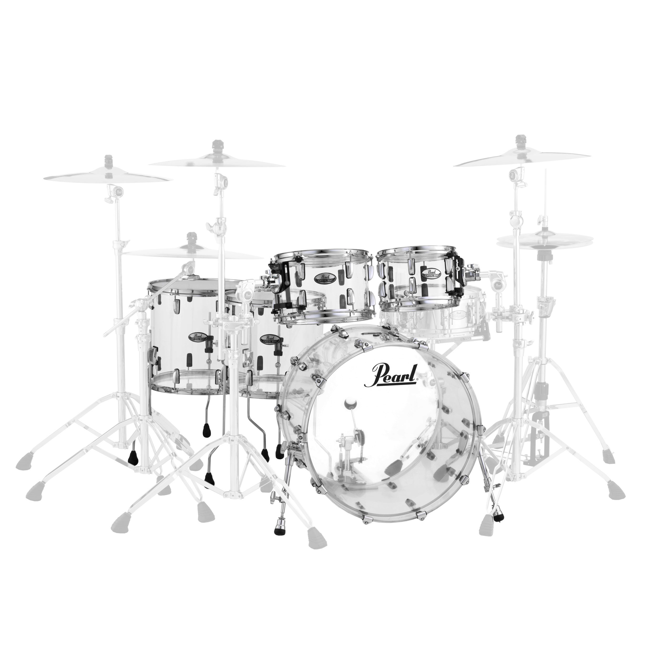 "Pearl Crystal Beat ""Two Up Two Down"" Acrylic 5-Piece Drum Set Shell Pack (22"" Bass, 10/12/14/16"" Toms)"