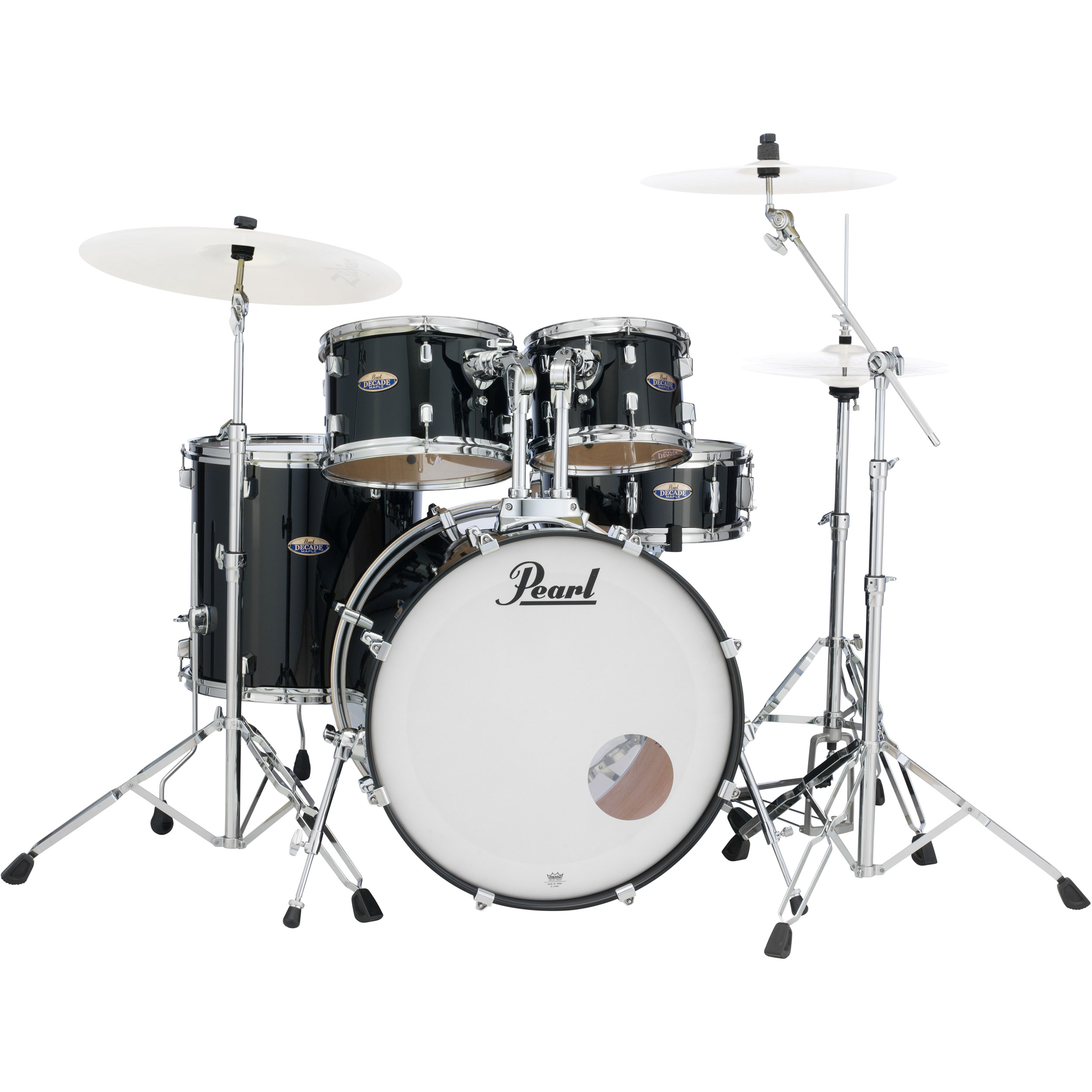 "Pearl Decade Maple 5-Piece Drum Set with 830 Series Hardware (22"" Bass, 10/12/16"" Toms, 14"" Snare) in Black Ice"