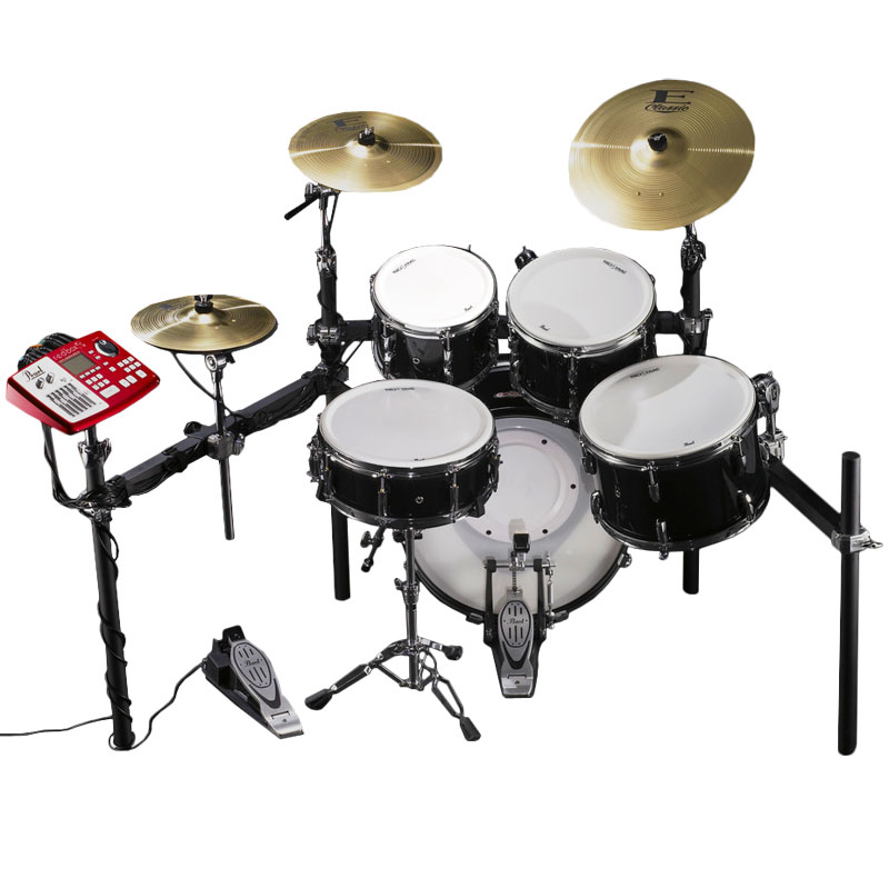 pearl epad 25s electronic drum set with 10 12 14 16 tru trac heads bass pad module plastic. Black Bedroom Furniture Sets. Home Design Ideas