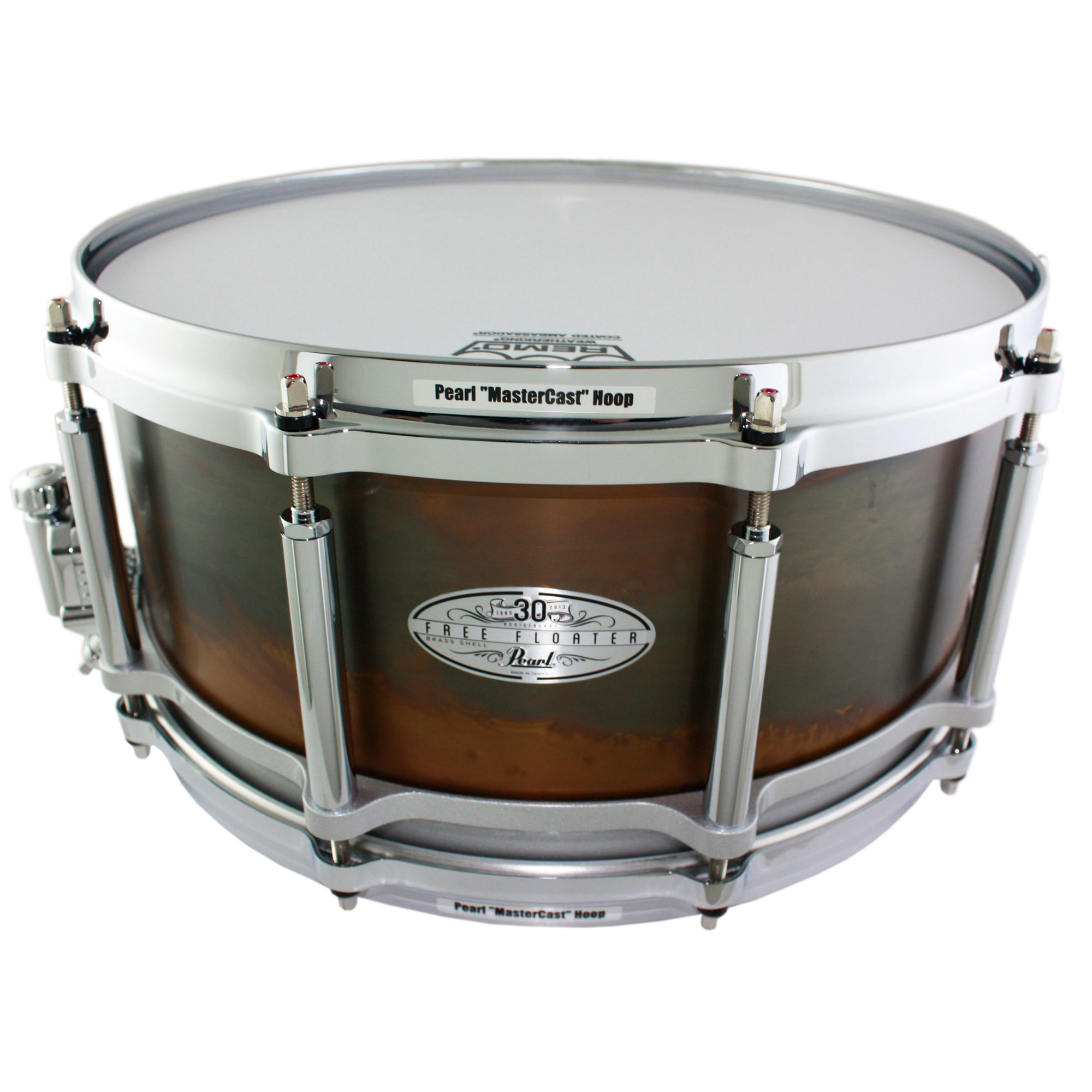 """Pearl One-of-a-Kind 30th Anniversary 14"""" x 6.5"""" Free Floating 3mm Brass Snare Drum with Leather Case #80"""