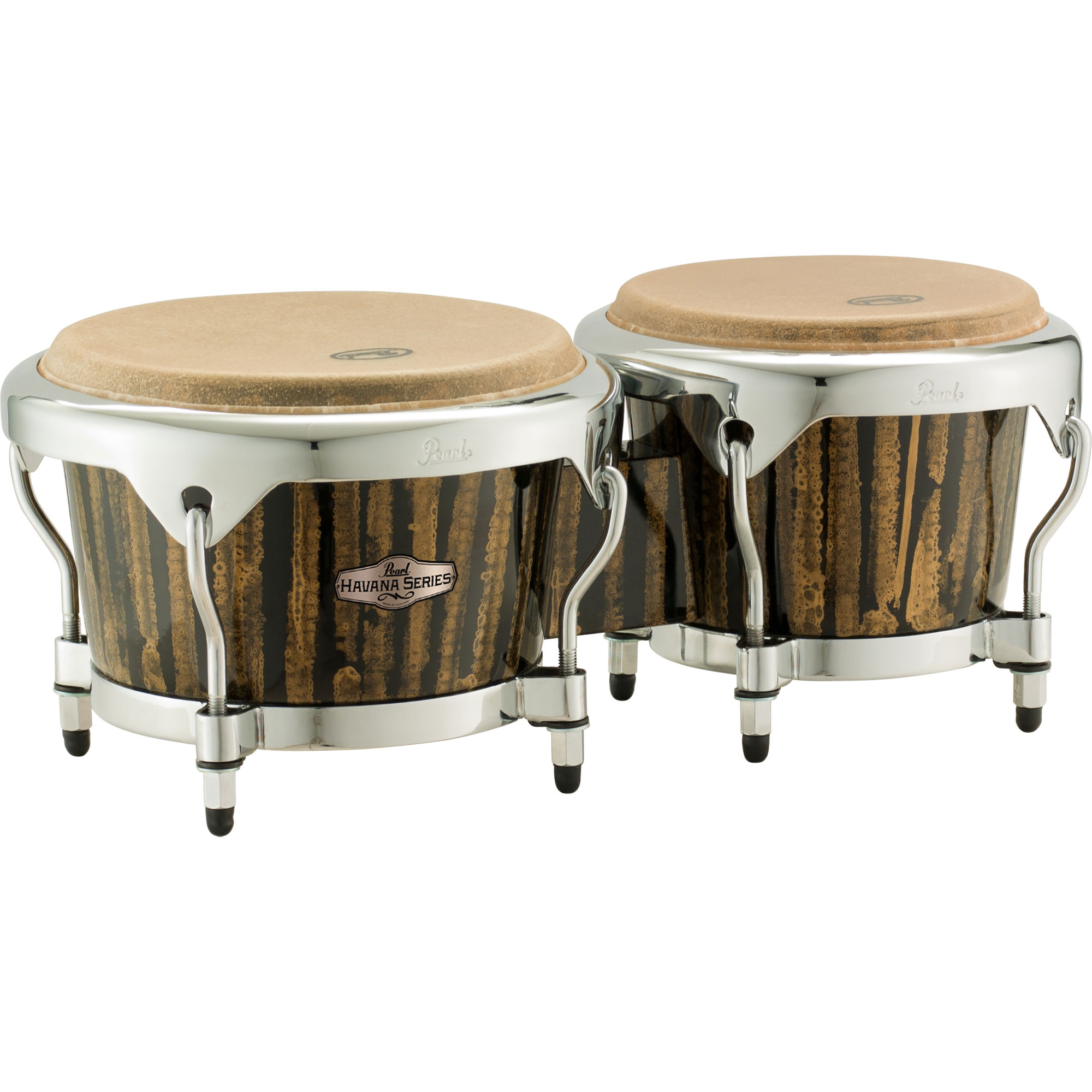 "Pearl 7"" & 9"" Havana Series Fiberglass Bongos in Liquid Gold with Chrome Hardware"