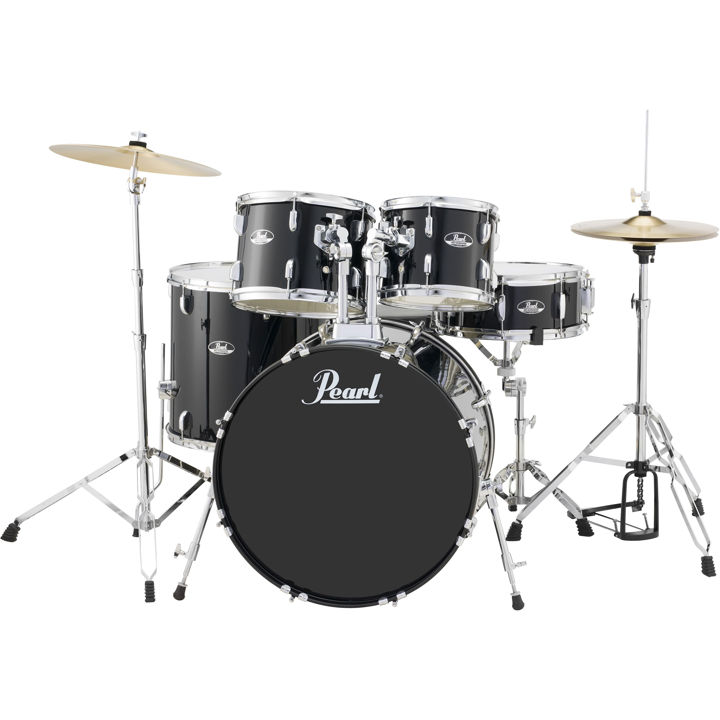 """Pearl Roadshow 5-Piece Drum Set with Hardware and Cymbals (20"""" Bass, 10/12/14"""" Toms, 14"""" Snare) in Jet Black"""