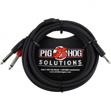 Pig Hog Solutions 10' 3.5mm to Dual 1/4