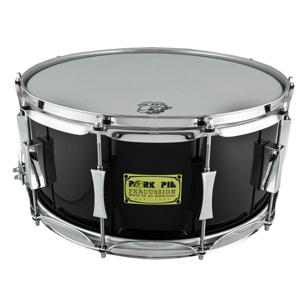 "Pork Pie Percussion 6.5"" x 14"" Maple/Oak Snare Drum in Black Lacquer"