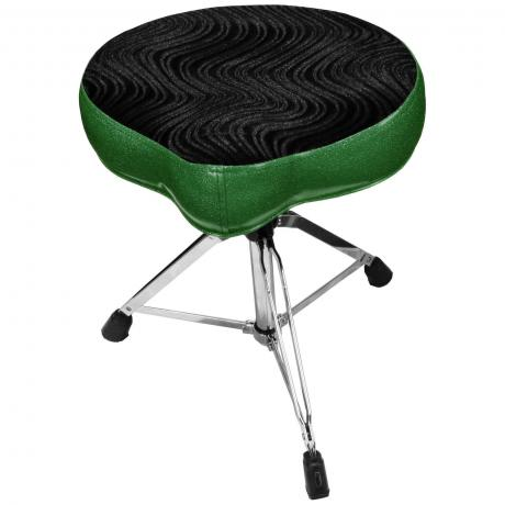Pork Pie Percussion Big Boy Bike Throne with Green Sides and Black Swirl Top