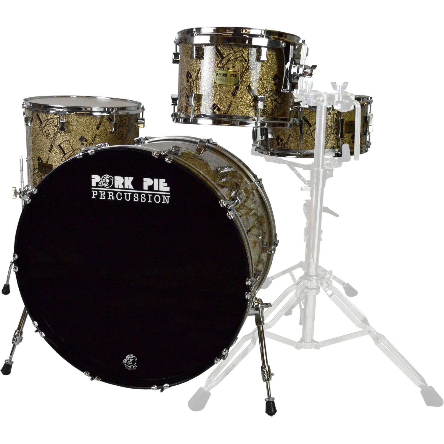 "Pork Pie Percussion USA Custom Maple 4-Piece Drum Set Shell Pack (24"" Bass, 13/16"" Toms, 14"" Snare) in Top Hat and Pig Graphic"