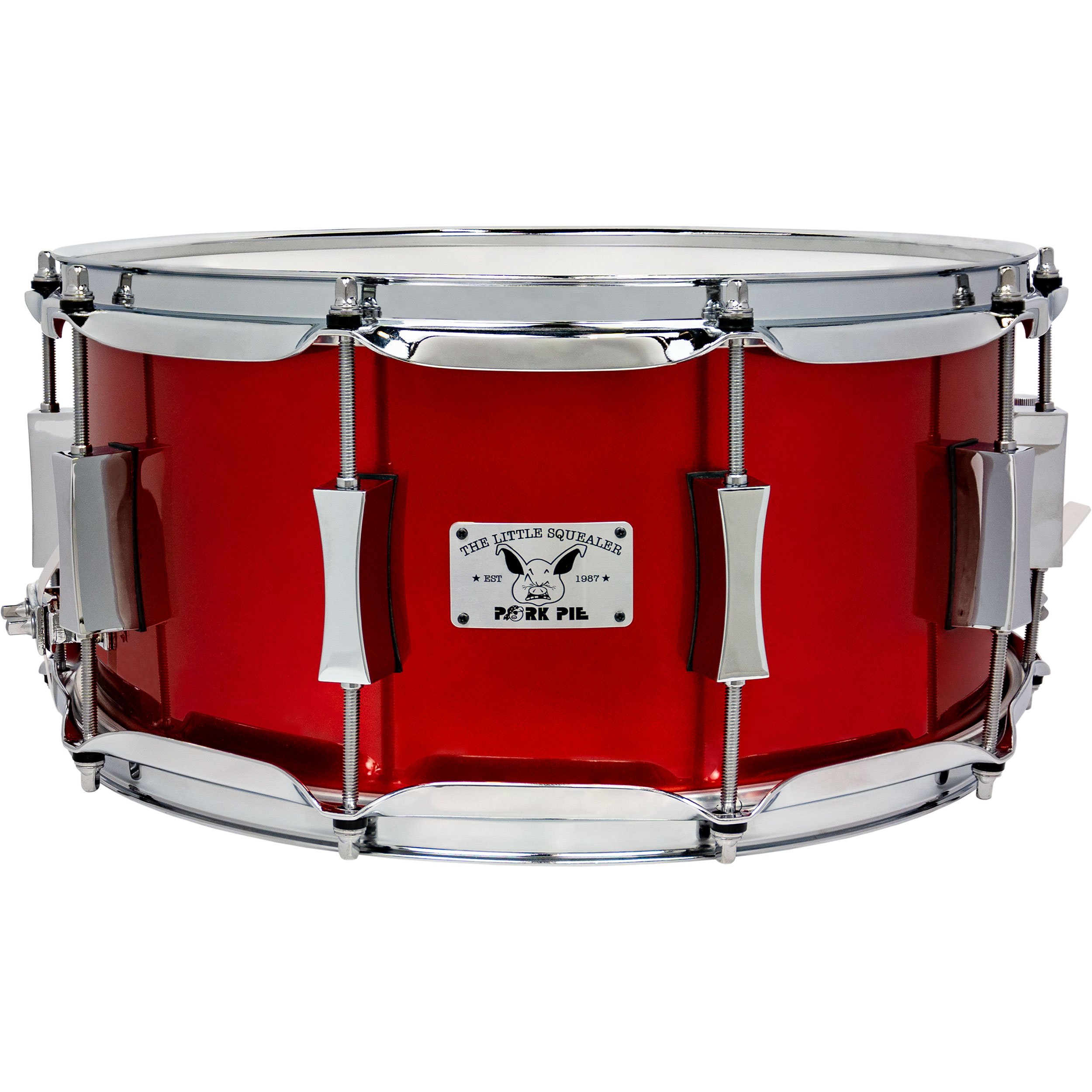"Pork Pie Percussion 6.5"" x 14"" Little Squealer Snare Drum in Firethorn Red"