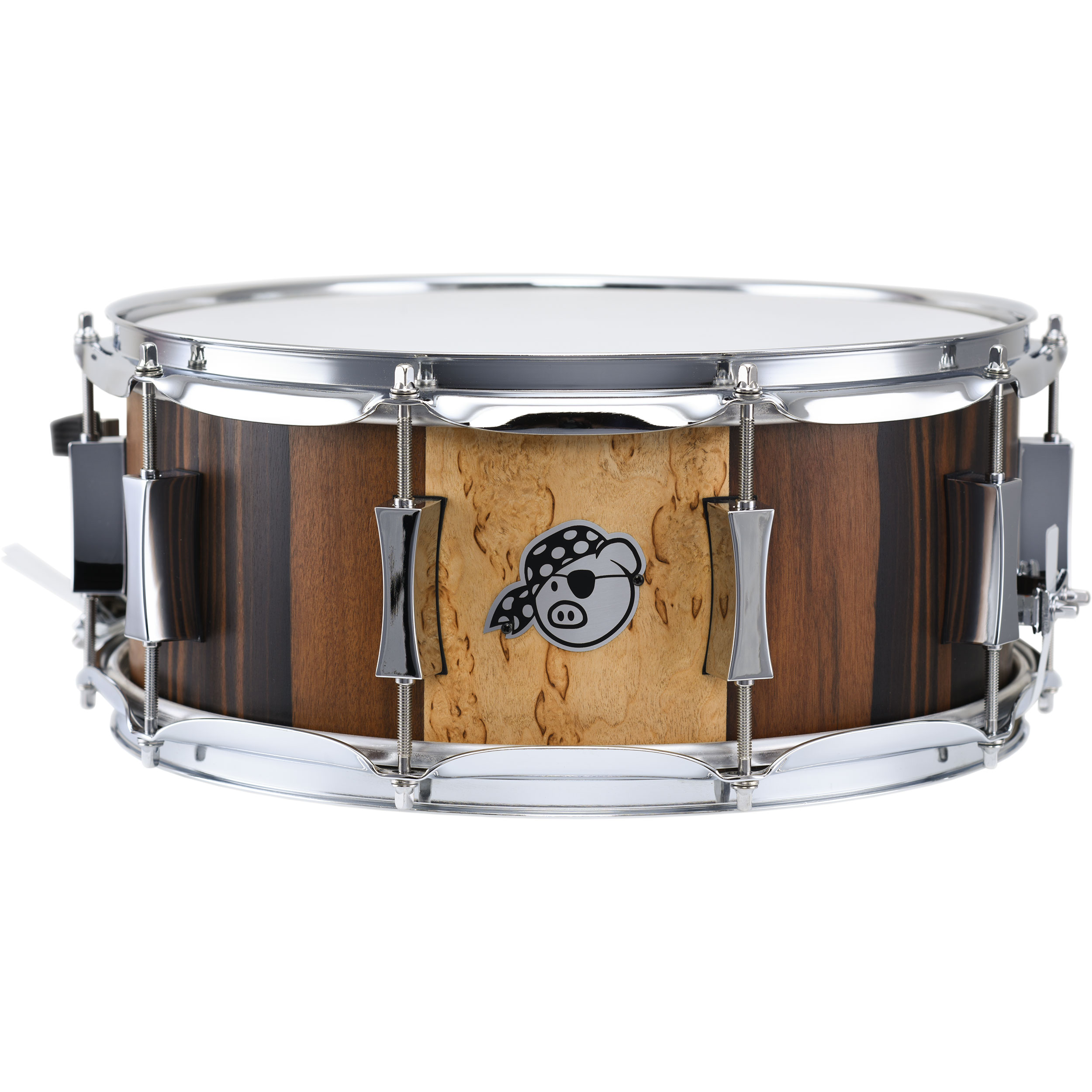 "Pork Pie Percussion 6.5"" x 14"" Maple/Mahogany Snare Drum with Macassar Ebony/Massur Birch Badge Panel in Satin Finish"