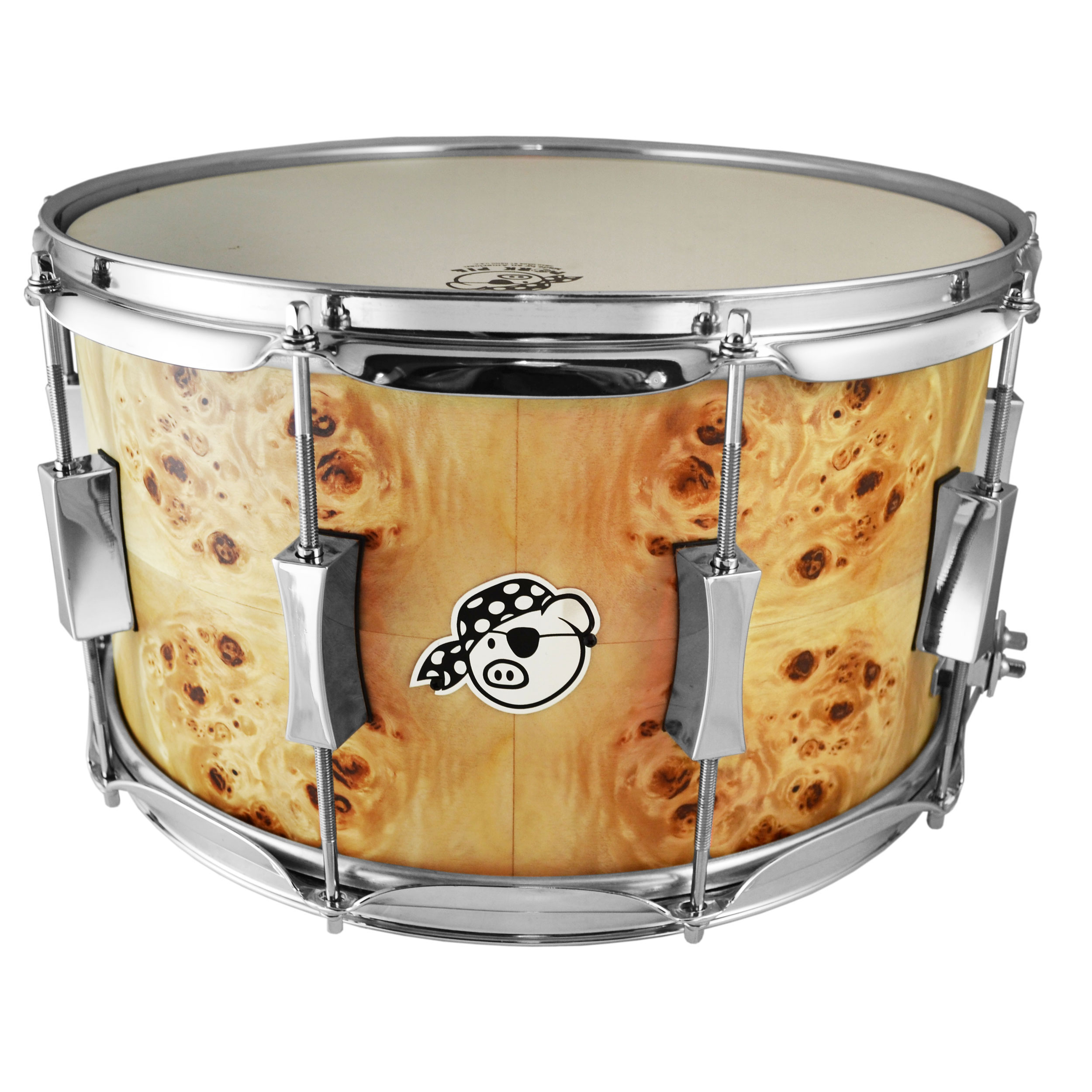"Pork Pie Percussion 8"" x 14"" Maple Snare Drum with Mappa Burl Veneer in Flat Lacquer"