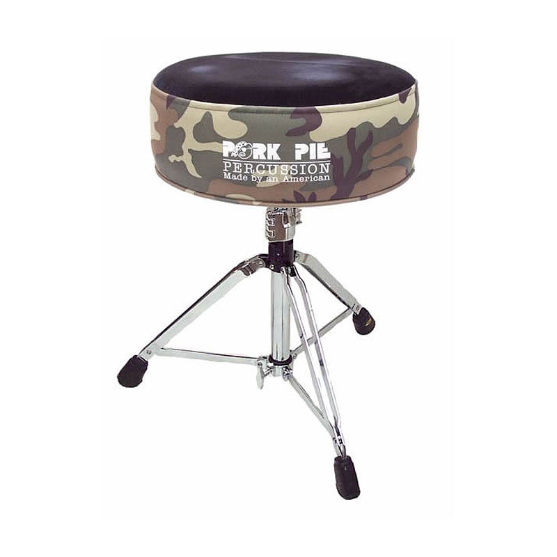 Pork Pie Percussion Round Top Camouflage/Black Crush Drum Throne