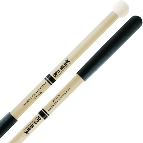 Promark ATH2 AT Marching Series Felt Marching Tenor Mallets with Hickory Handles