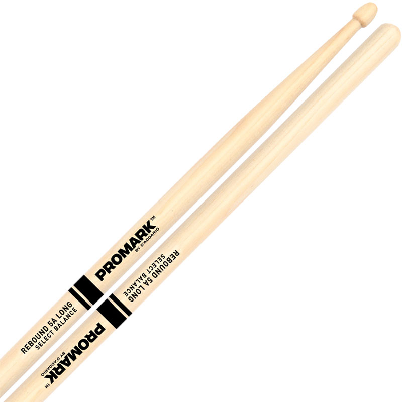 "Promark Rebound 5A Long (.565"") Hickory Drumsticks with Acorn Wood Tips"