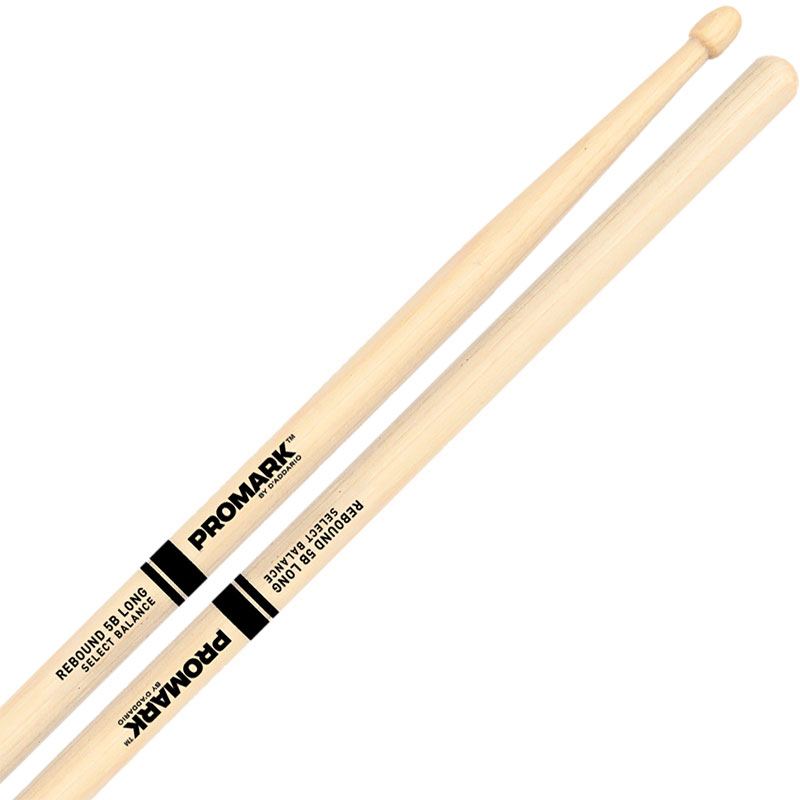 "Promark Rebound 5B Long (.595"") Hickory Drumsticks with Acorn Wood Tips"