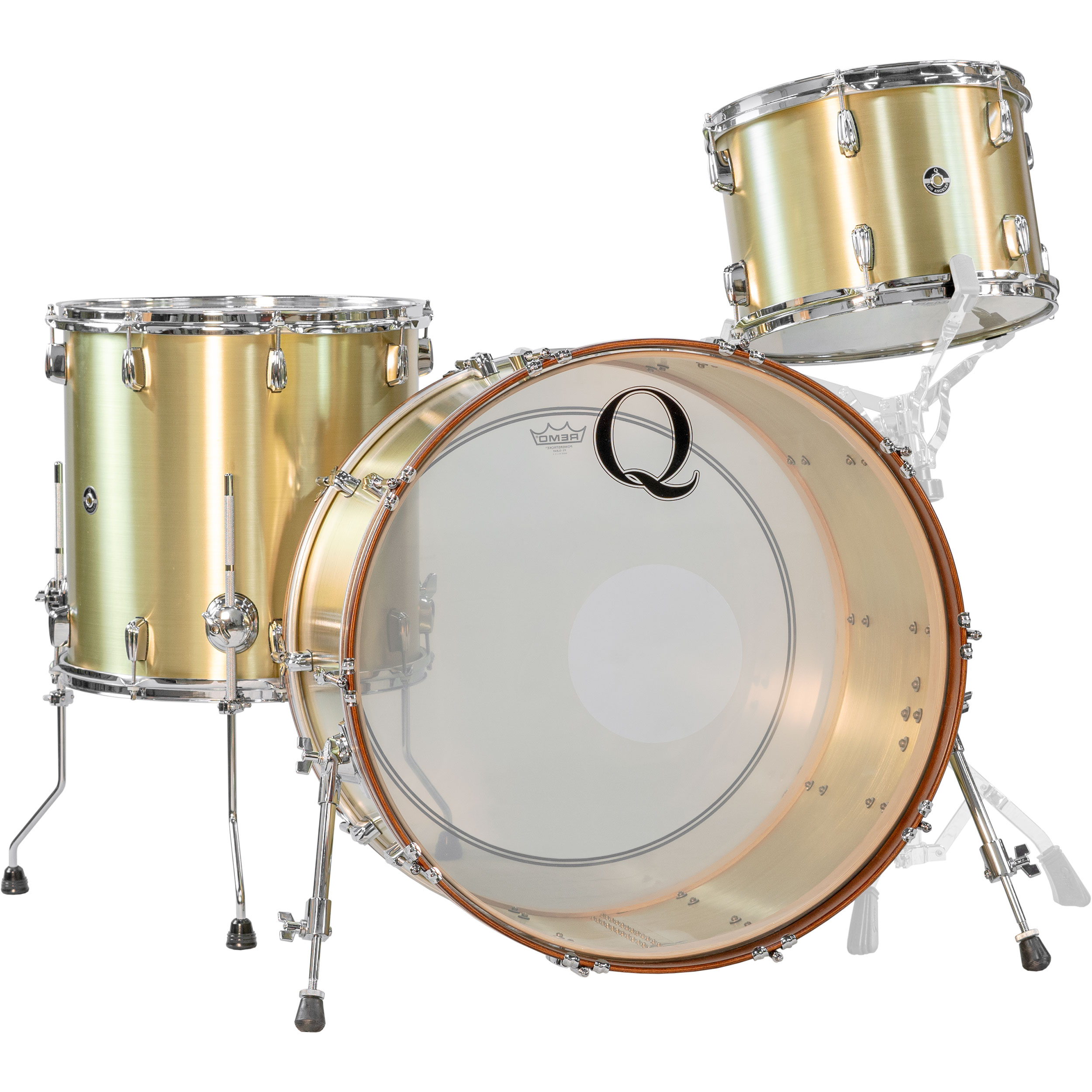 """Q Drum Co. 3-Piece Brass Drum Set Shell Pack (24"""" Bass, 13/16"""" Toms) in Raw Finish"""