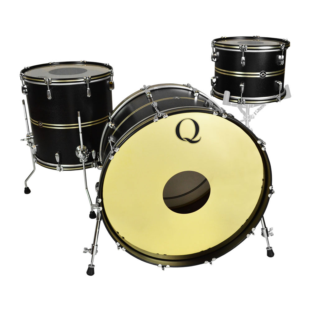 """Q Drum Co. Mahogany/Poplar 3-Piece Drum Set Shell Pack (24"""" Bass, 13/16"""" Toms) in Black Satin with Brushed Brass Inlays"""