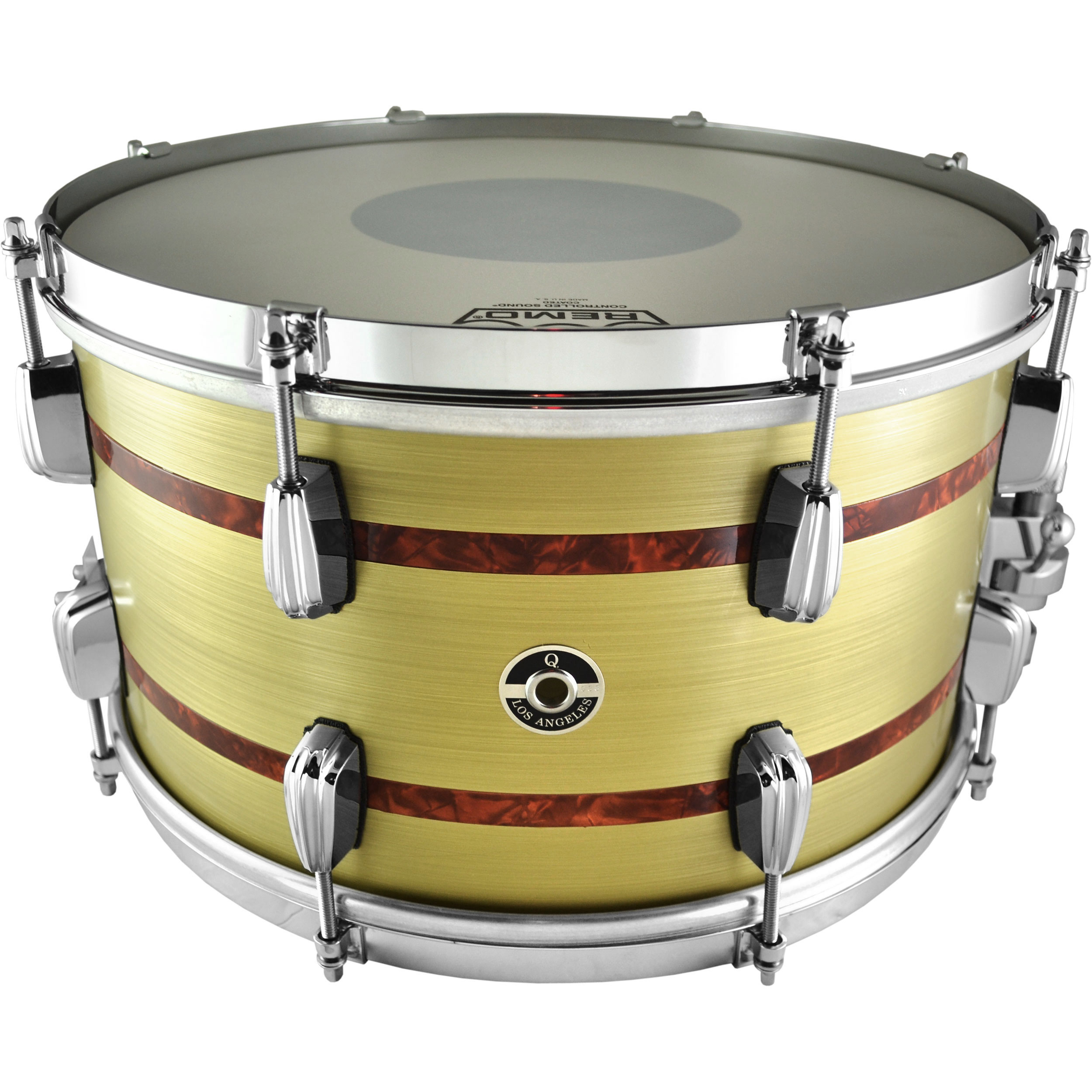 "Q Drum Co. 8"" x 14"" Brass Plate Snare Drum with Tortoiseshell Inlays"