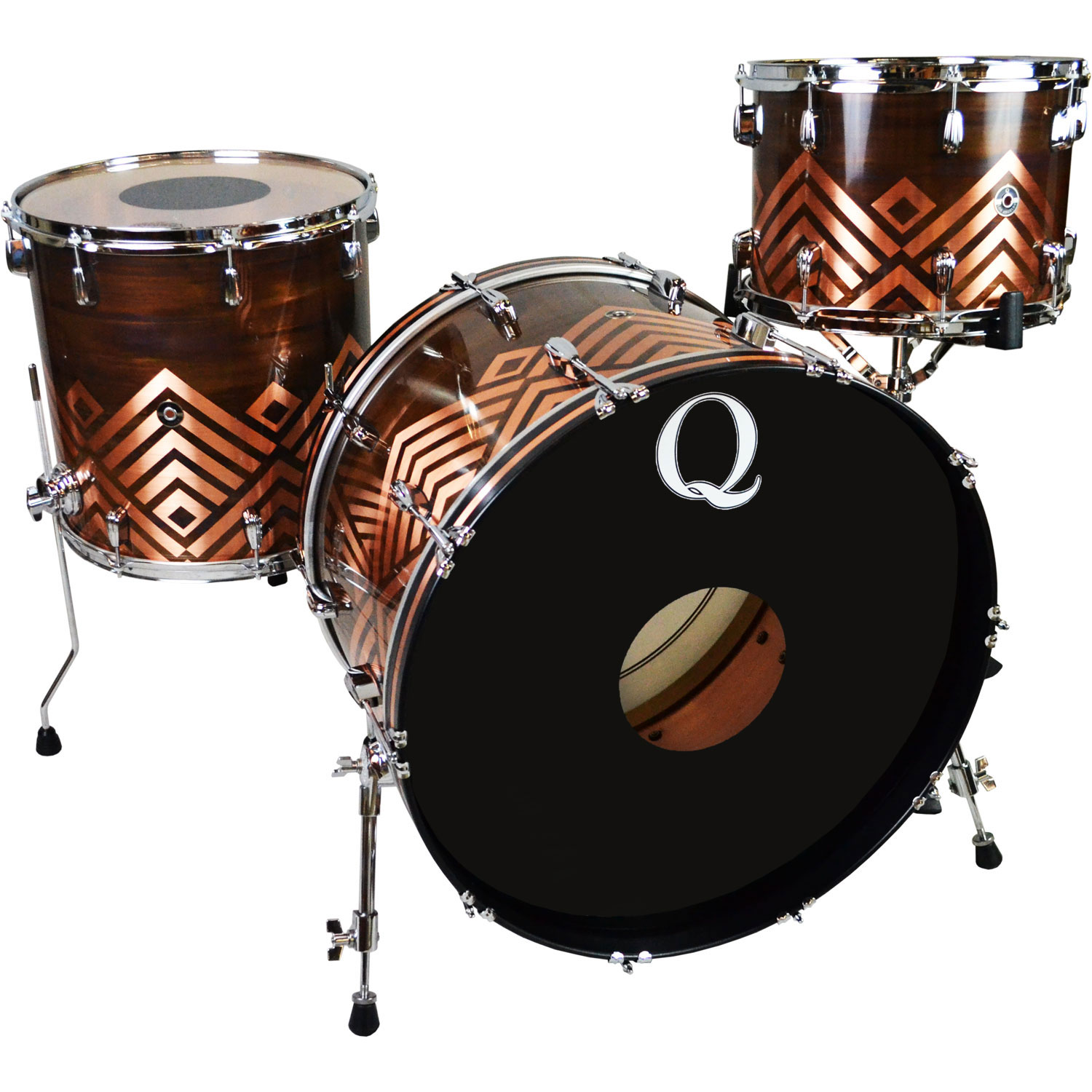 "Q Drum Co. Copper 3-Piece Drum Set Shell Pack (24"" Bass, 14/16"" Toms) in Tribal Patina"