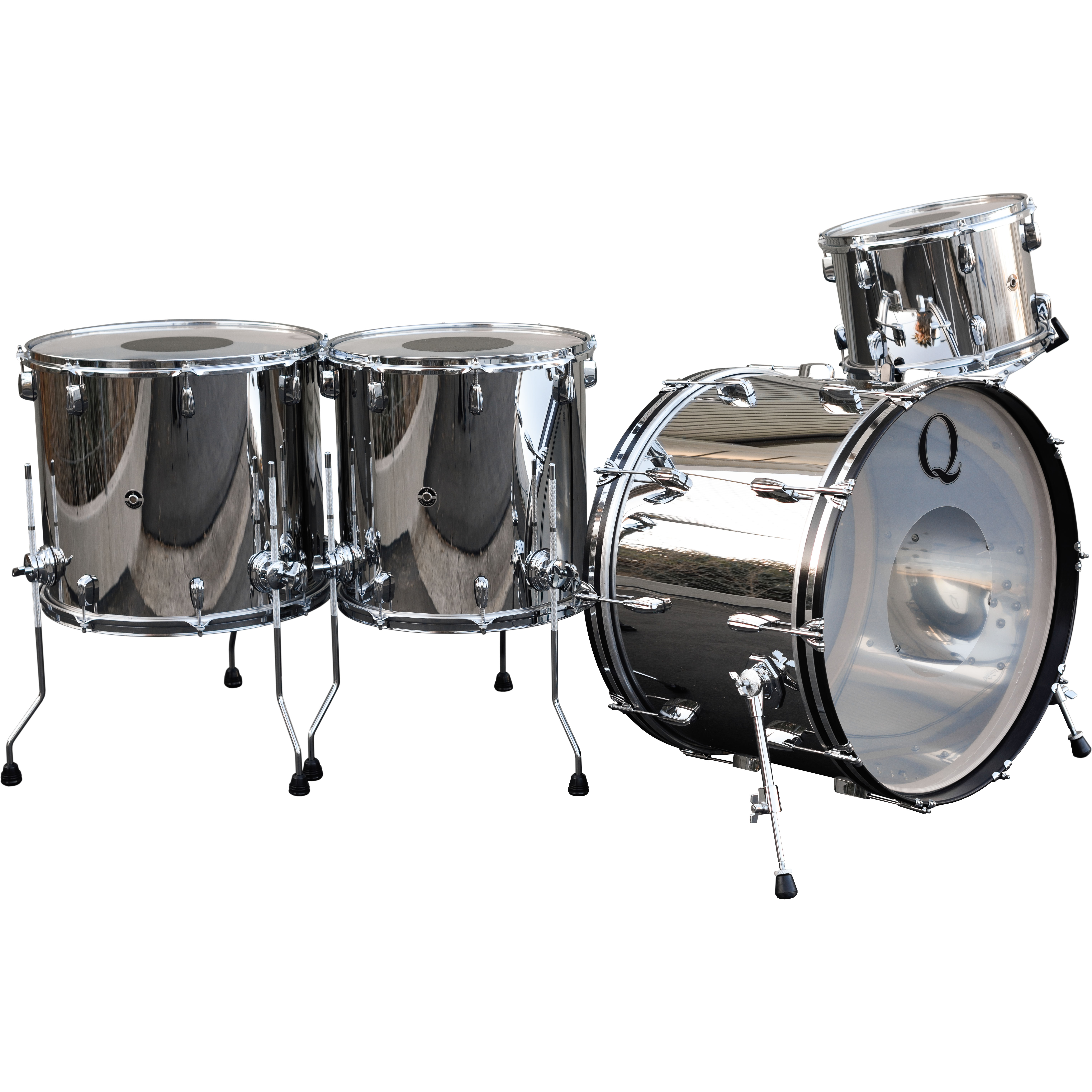 "Q Drum Co 4-Piece Polished Stainless Steel Drum Set Shell Pack (24"" Bass, 13/16/18"" Toms)"