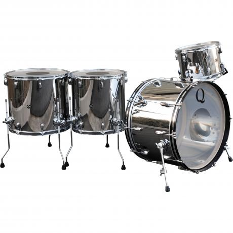 Q Drum Co 4-Piece Polished Stainless Steel Drum Set Shell Pack (24