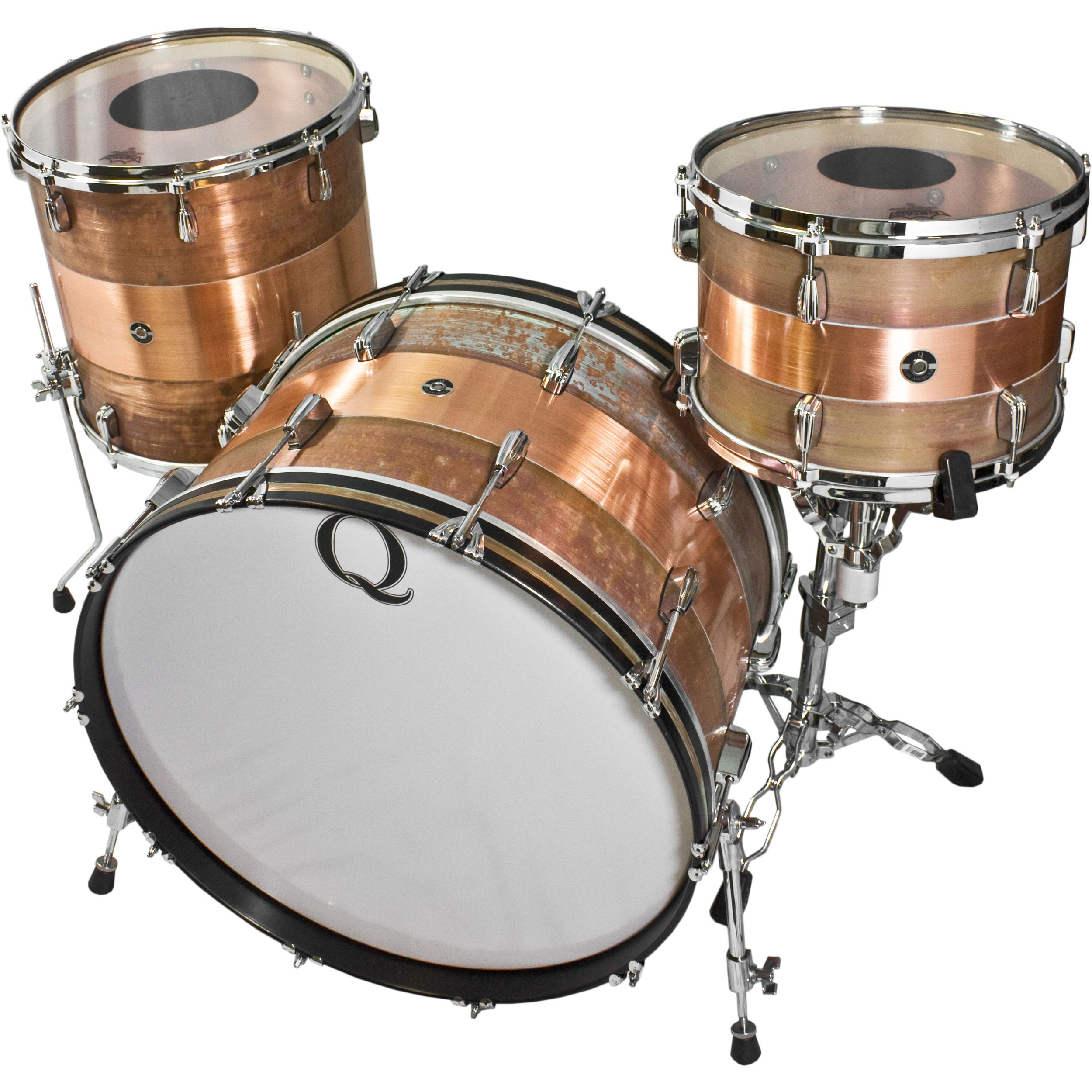"Q Drum Co. Copper 3-Piece Drum Set Shell Pack (24"" Bass, 13/16"" Toms)"