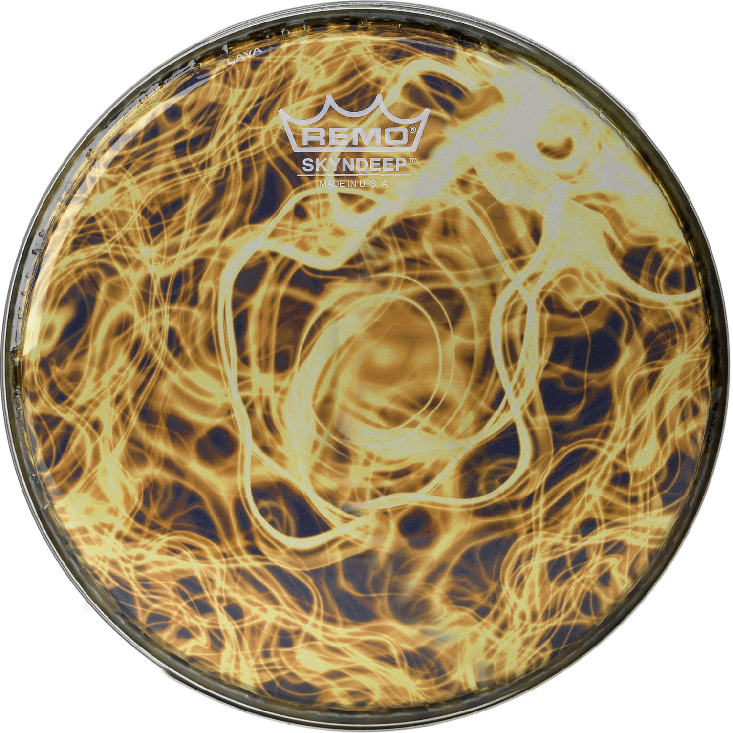"Remo 8"" R-Series Skyndeep Doumbek Drum Head with Yellow Wave Graphic"