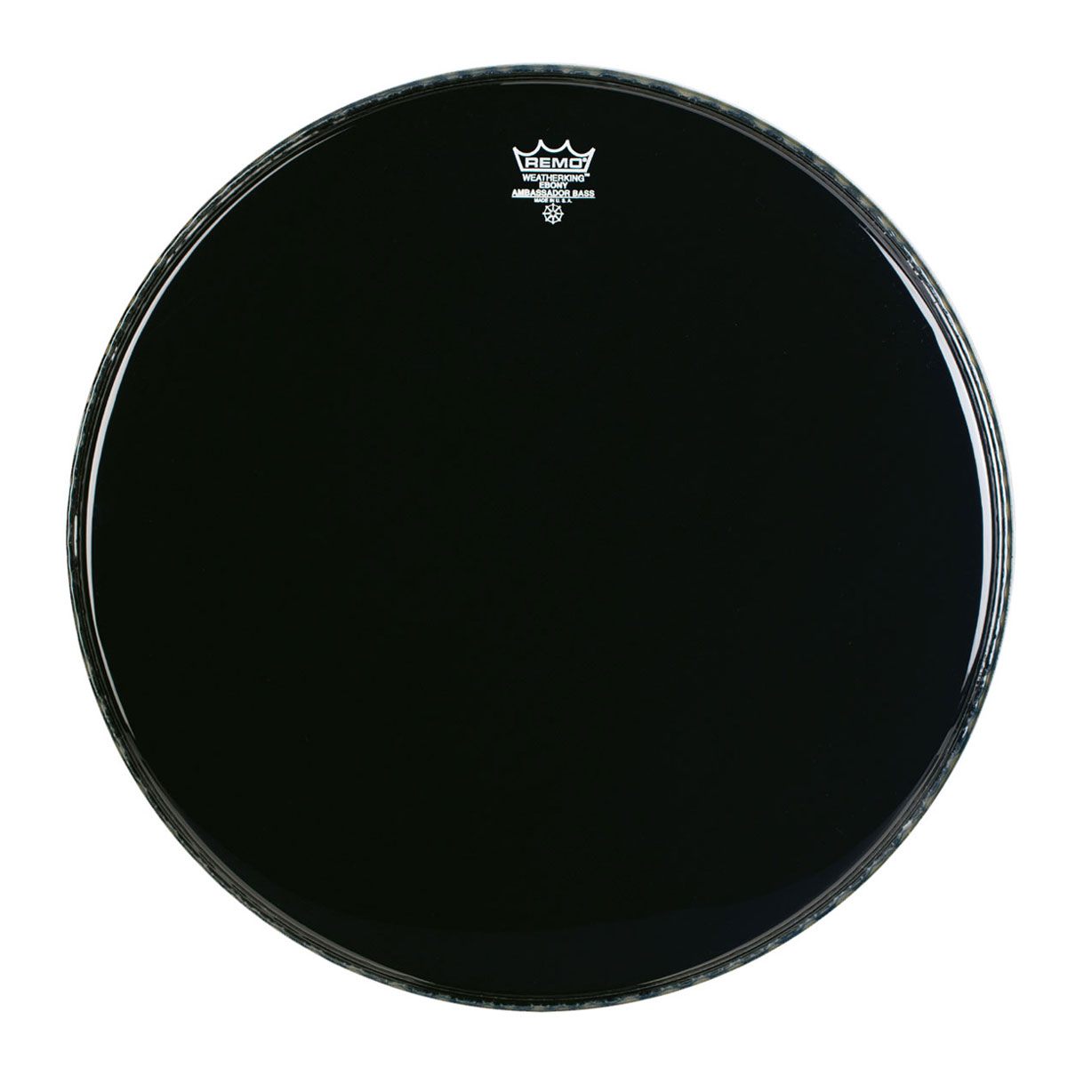 "Remo 28"" Ambassador Ebony Crimplock Marching Bass Drum Head"