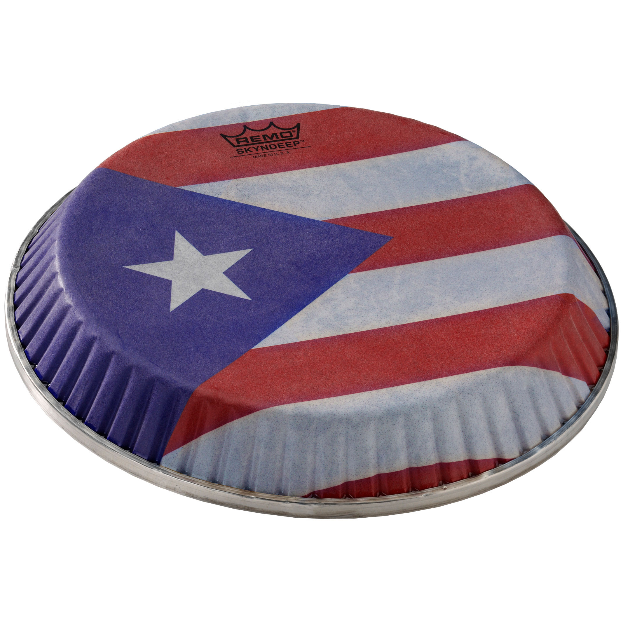 "Remo 11.75"" Symmetry Skyndeep Conga Drum Head (D1 Collar) with Puerto Rican Flag Graphic"