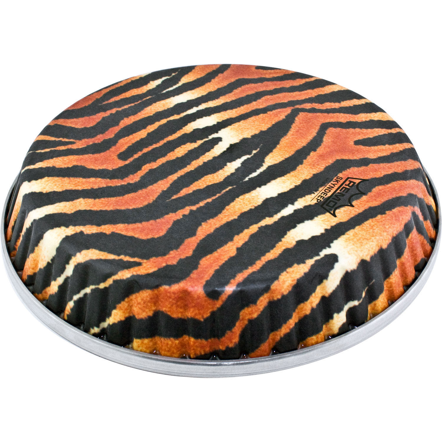 "Remo 12.5"" Symmetry Skyndeep Conga Drum Head (D2 Collar) with Tiger Stripe Graphic"