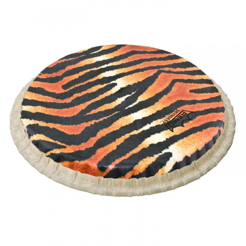 "Remo 11.06"" Tucked Skyndeep Conga Drum Head with Tiger Stripe Graphic"