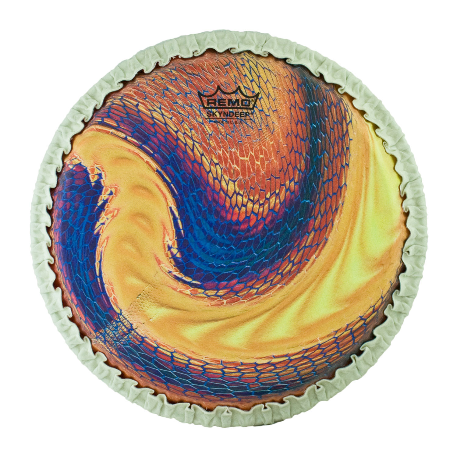 "Remo 11.75"" Tucked Skyndeep Conga Drum Head with Serpentine Day Graphic"