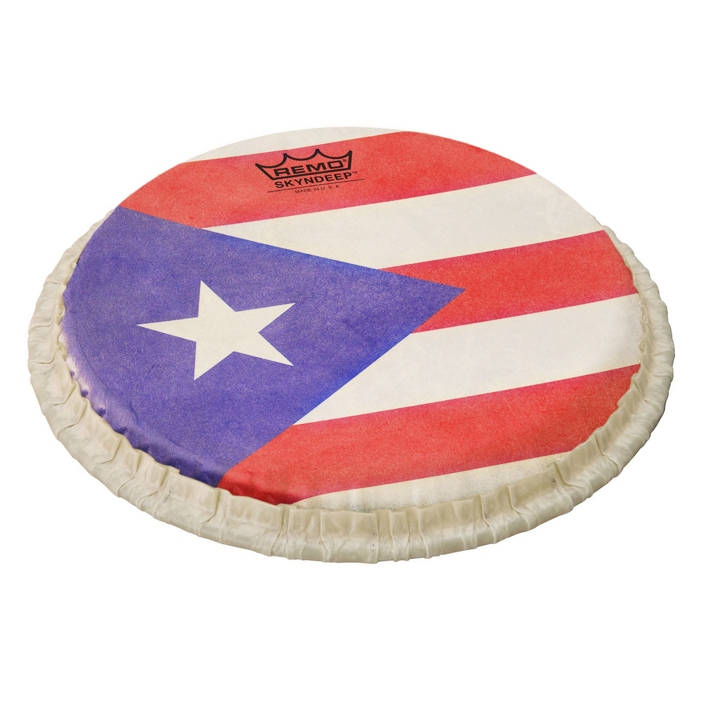 "Remo 11.75"" Tucked Skyndeep Conga Drum Head with Puerto Rican Flag Graphic"