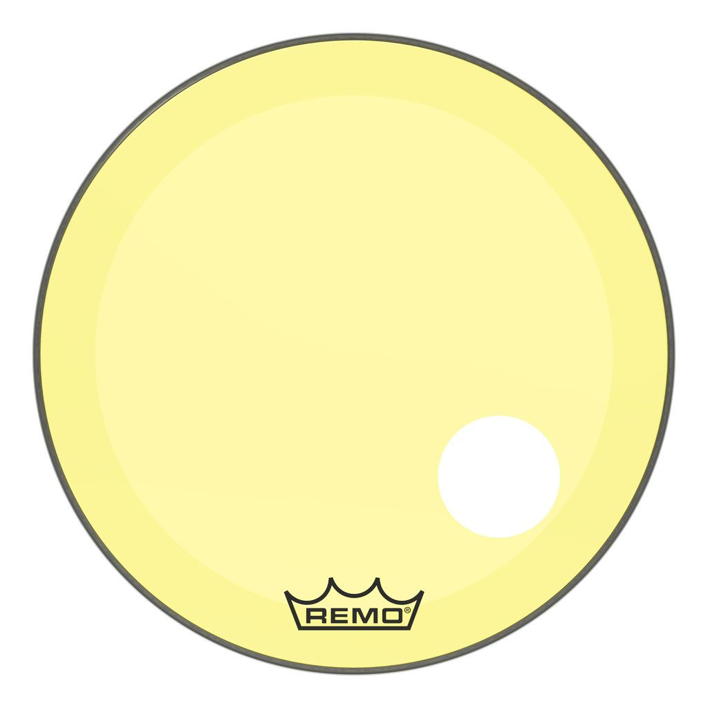 """Remo 22"""" Powerstroke P3 Colortone Yellow Bass Drum Head with 5"""" Offset Hole"""