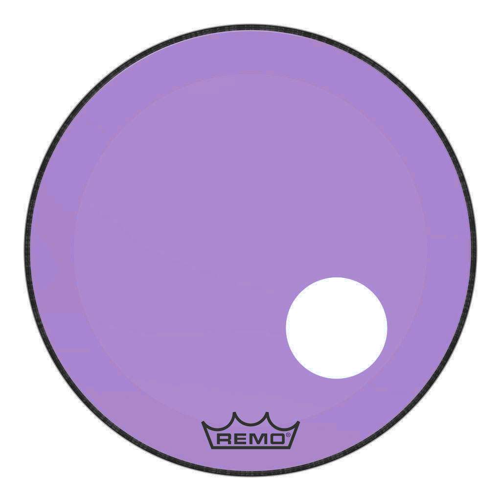 """Remo 24"""" Powerstroke P3 Colortone Purple Bass Drum Head with 5"""" Offset Hole"""