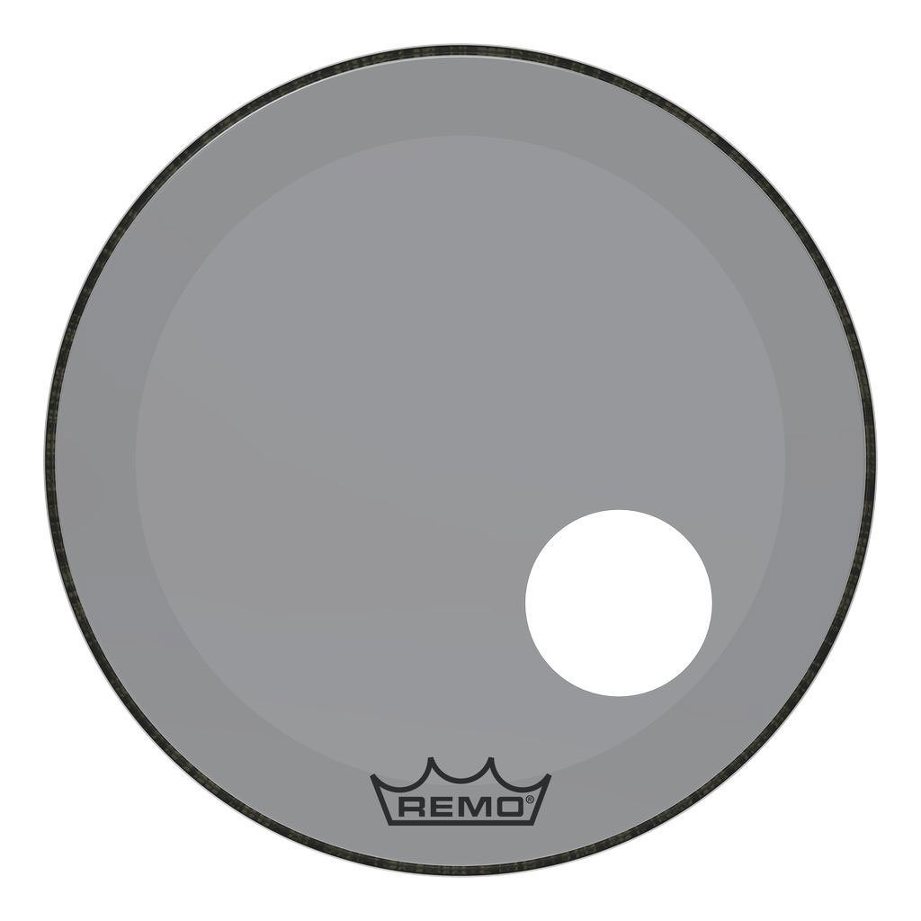 """Remo 24"""" Powerstroke P3 Colortone Smoke Bass Drum Head with 5"""" Offset Hole"""