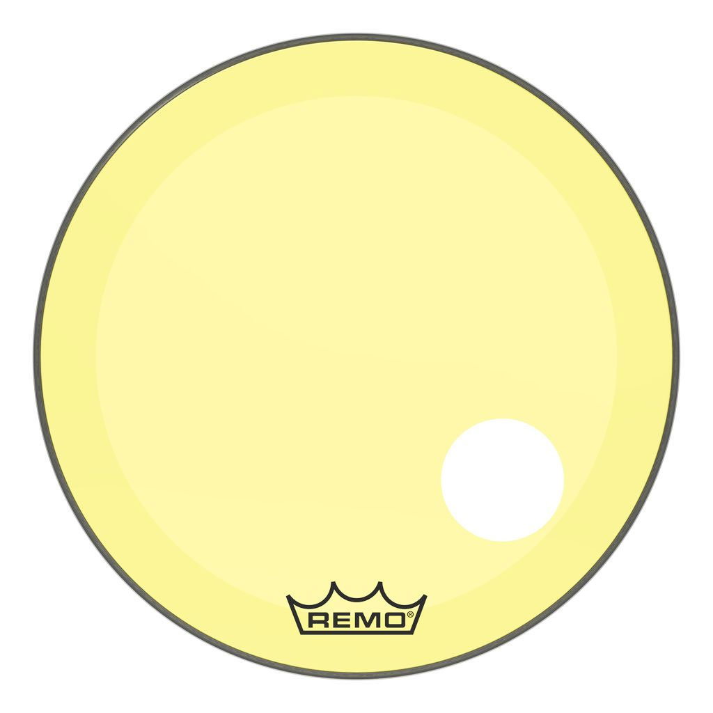 """Remo 26"""" Powerstroke P3 Colortone Yellow Bass Drum Head with 5"""" Offset Hole"""