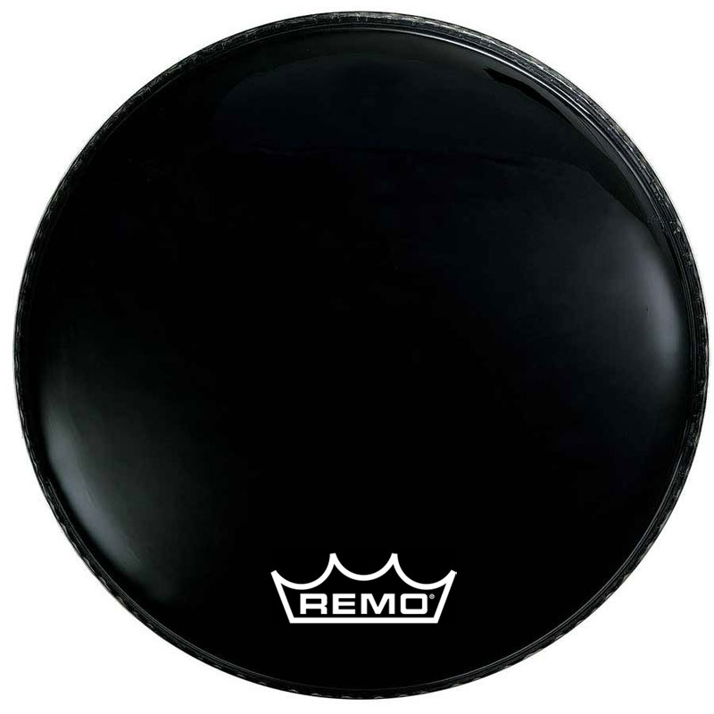"Remo 24"" Powermax Ebony Crimplock Marching Bass Drum Head"