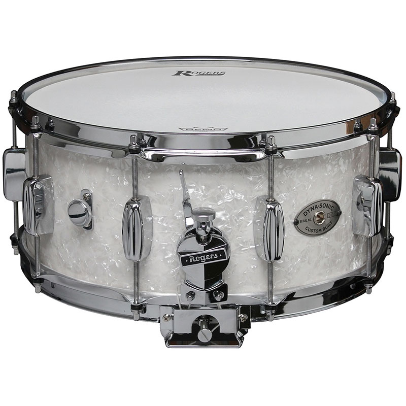 "Rogers 6.5"" x 14"" Dyna-Sonic Wood Shell Snare Drum in White Marine Pearl"