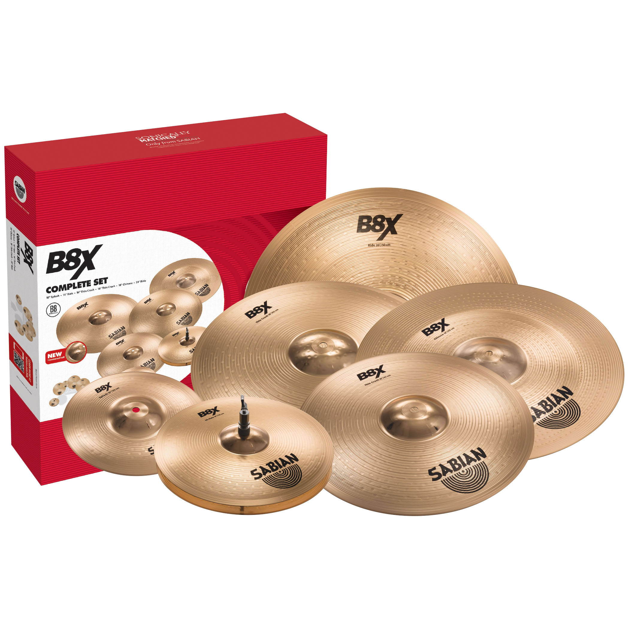 Sabian B8X Complete 6-Piece Cymbal Box Set (Hi Hats, 2 Crashes, Ride, Splash, China)