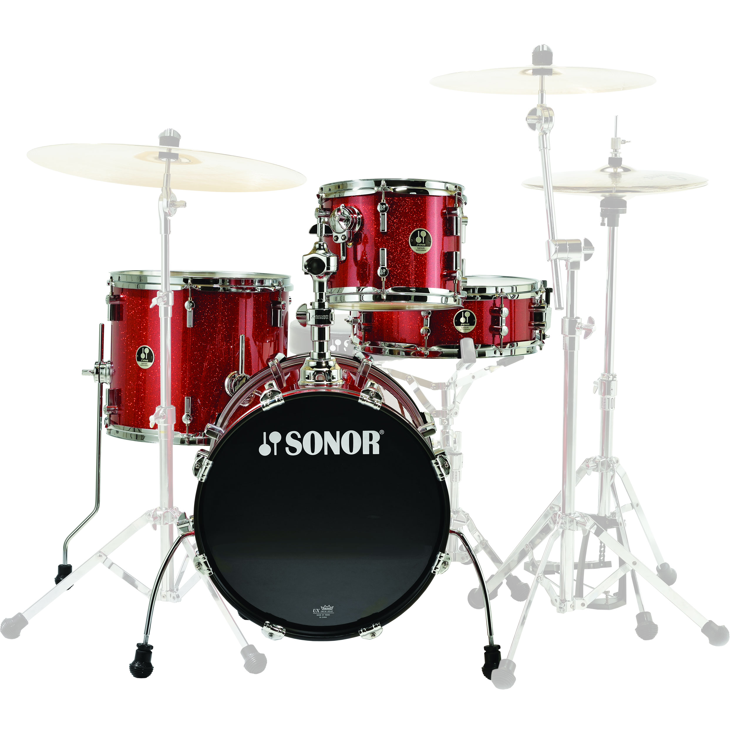 """Sonor Safari 4-Piece Drum Set Shell Pack (16"""" Bass, 10/14"""" Toms, 14"""" Snare) in Red Galaxy Sparkle"""