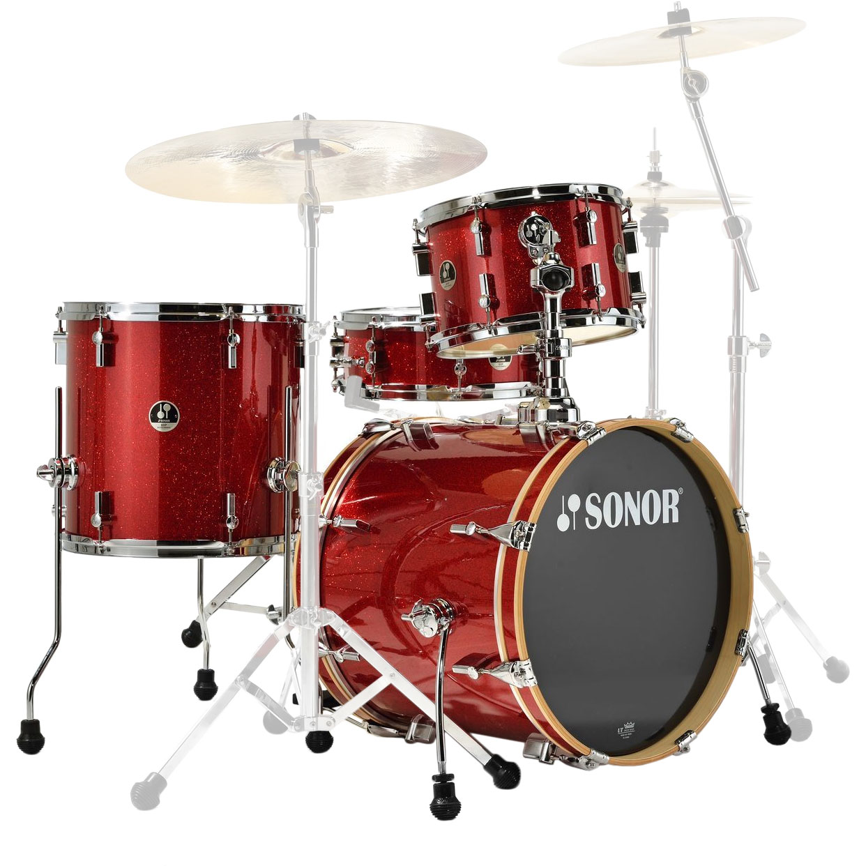 "Sonor Special Edition Bop 4-Piece Drum Set Shell Pack (18"" Bass, 12/14"" Toms, 14"" Snare) in Red Galaxy Sparkle"
