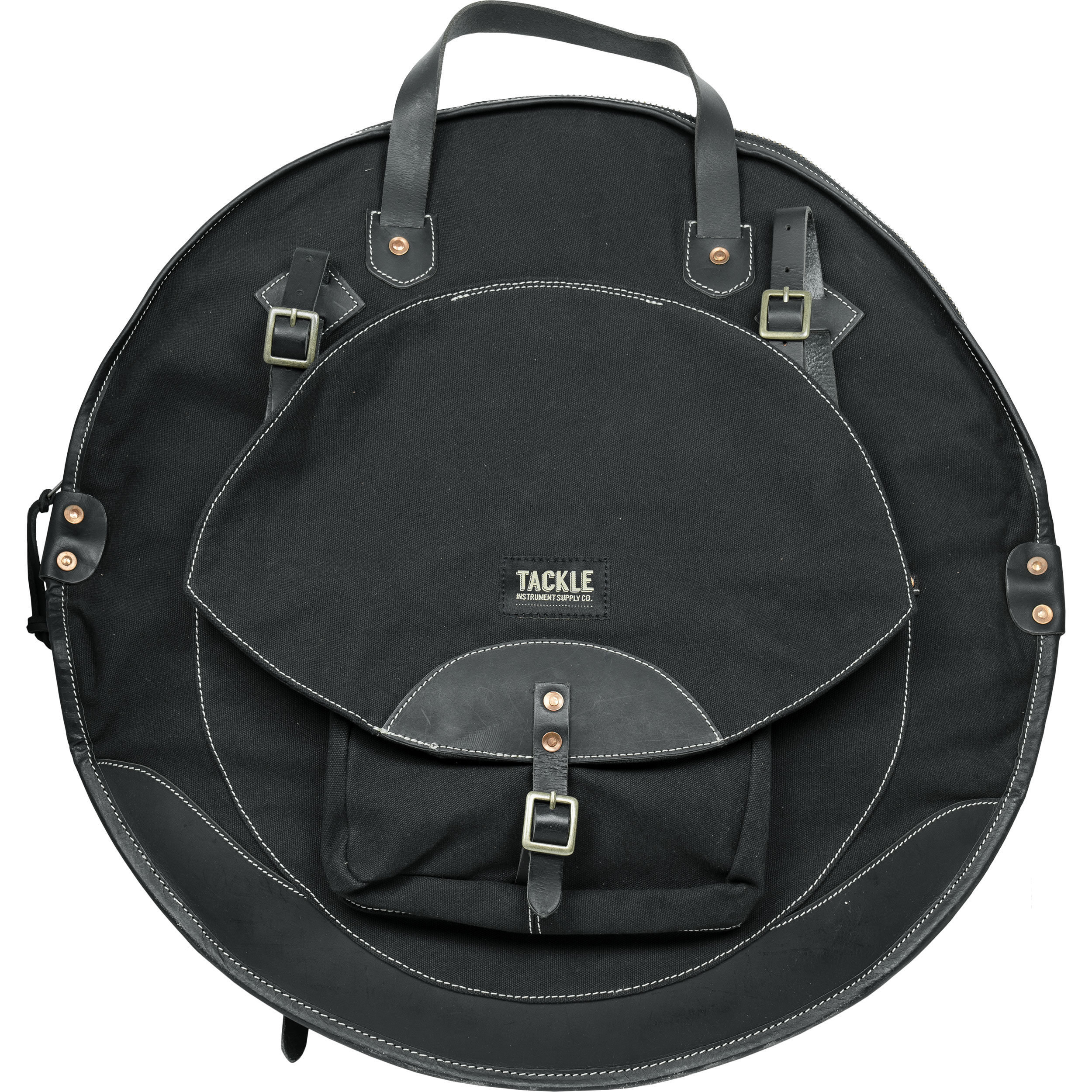 "Tackle Instrument Supply Co. 22"" Black Canvas/Black Leather Cymbal Bag"